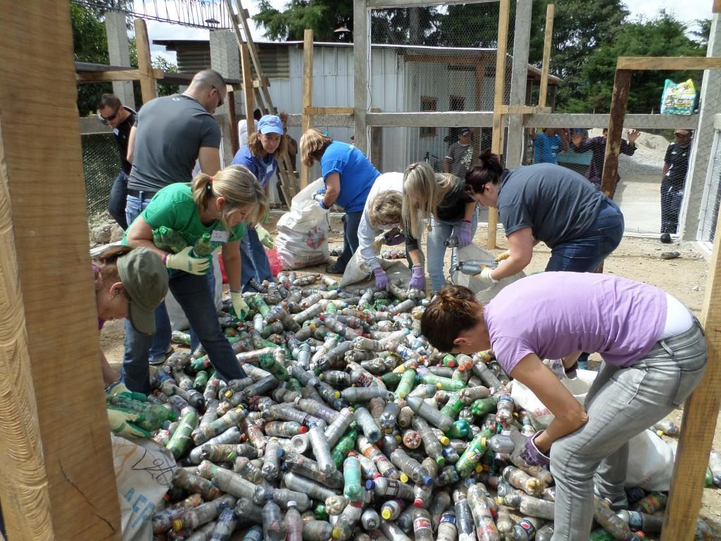 Sorting bottles for the school